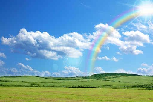 Rainbow and meadow